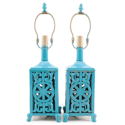 Pair of Turquoise Enameled Table Lamps