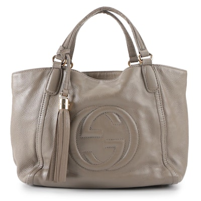 Gucci GG Soho Small Working Tote in Dark Taupe Grained Leather with Tassel