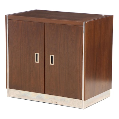 Stow & Davis Modernist Walnut and Crome Side Cabinet, Late 20th Century