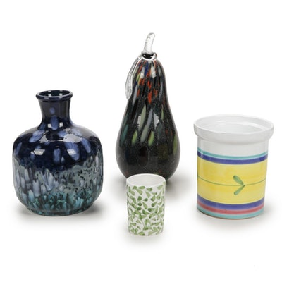 Hand Painted Italian and Other Vases and Glass Decor