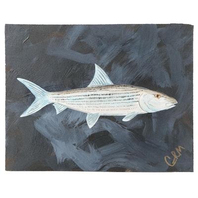"George McElveen Acrylic Painting ""Bone Fish,"" 2021"