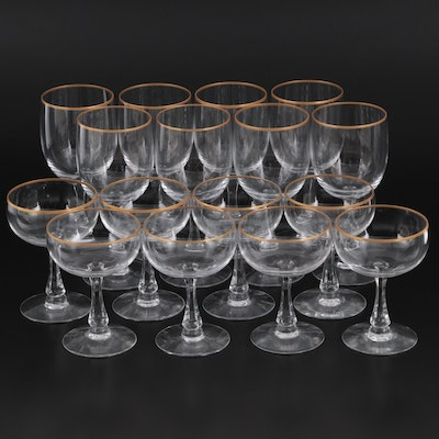 """Fostoria """"Classic Gold"""" Champagne Coups and Water Goblets"""