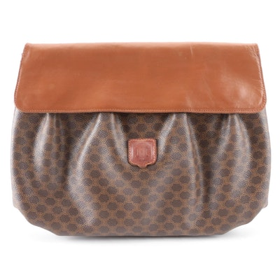 Celine Large Clutch in Macadam Coated Canvas and Leather Magnetic Flap