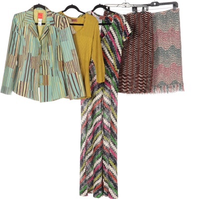 Missoni Orange Label Dress, Sweater, and Skirts with Christian Lacroix Jacket