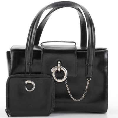 Cartier Box Bag in Black Leather with Coin Pouch