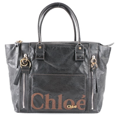 Chloé Eclipse Large Tote Bag in Black Coated Leather