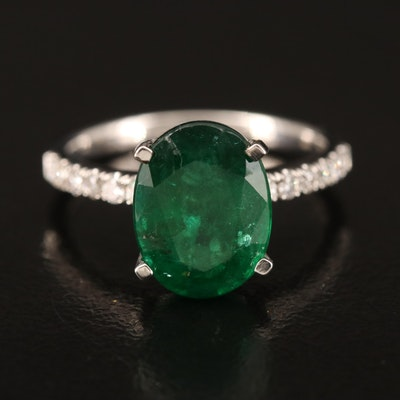 18K 2.23 CT Emerald and Diamond Ring