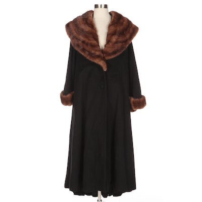 Halston Black Wool Coat with Mink Fur Collar and Cuffs from Marshall Field's