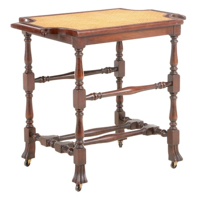 Colonial Revival Walnut-Stained and Cane Top Side Table, Early 20th Century