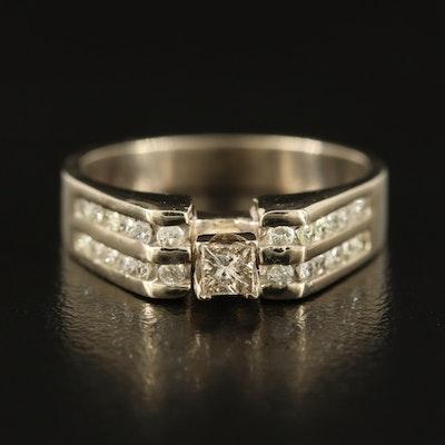 14K Diamond Ring with 0.21 CT Princess Cut Center