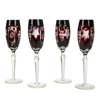 Bohemian Style Ruby Cut to Clear Champagne Flutes