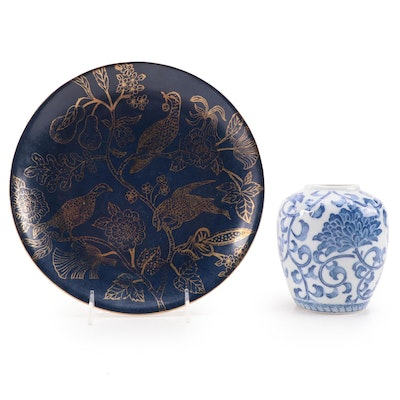 Andrea by Sadek Decorative Porcelain Plate and Vase, Late 20th Century