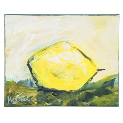 """Claire McElveen Oil Painting """"Lemon Abstract,"""" 2021"""