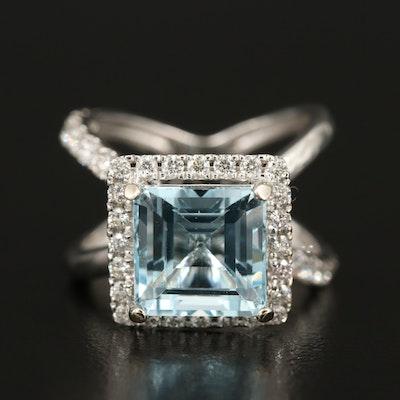 14K 8.59 CT Blue Topaz and 1.17 CTW Diamond Ring