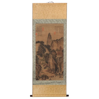 Chinese Ink and Watercolor Painting Hanging Scroll of Mountains