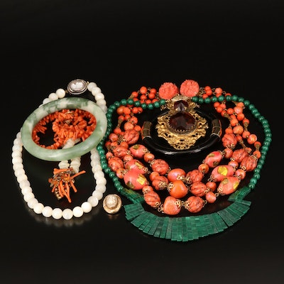 Jewelry Grouping Including Malachite, Branch Coral and Serpentine