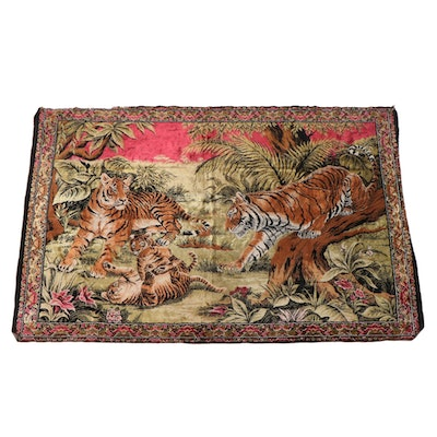 Machine Made Velvet Rug Style Tapestry of Tigers