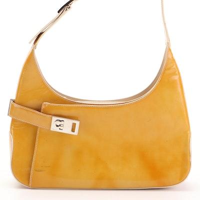 Salvatore Ferragamo Shoulder Bag in Gold Patent Leather