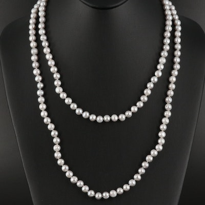 Rope Length Pearl Necklace with 14K Clasp