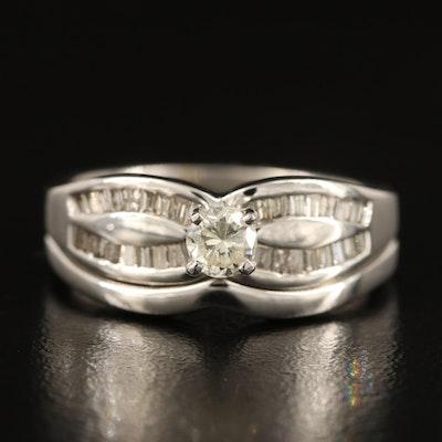 14K Diamond Ring Set with 0.28 CT Center Diamond
