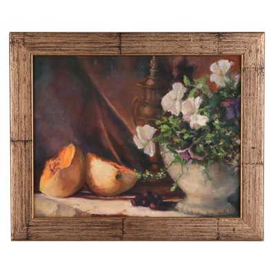 Still Life Oil Painting of Fruit and Flowers, Circa 2000
