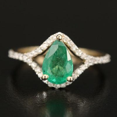14K 1.44 CT Emerald and Diamond Ring