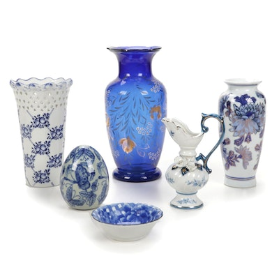 Blue and White Vases and Decor