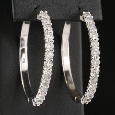 14K 3.98 CTW Diamond Hoop Earrings