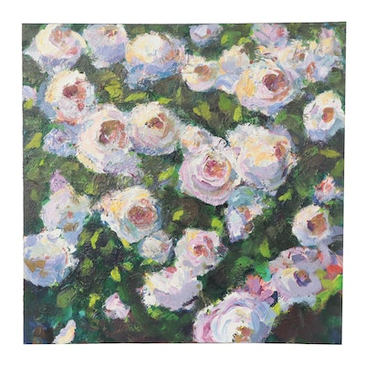 Amelia Colne Acrylic Painting of Pink Roses, 21st Century