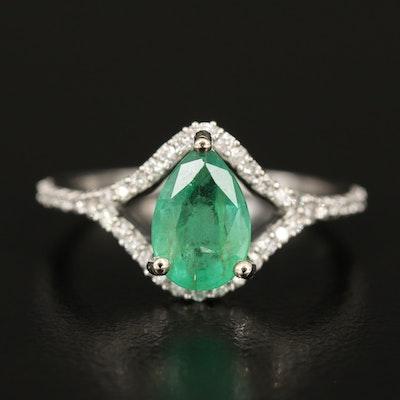 14K 1.22 CT Emerald and Diamond Ring