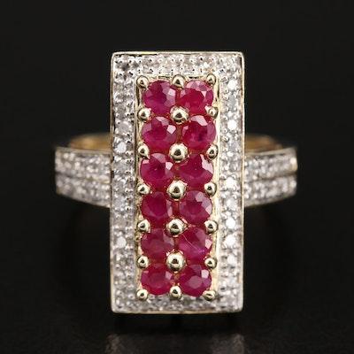 14K Ruby and Diamond Bar Ring