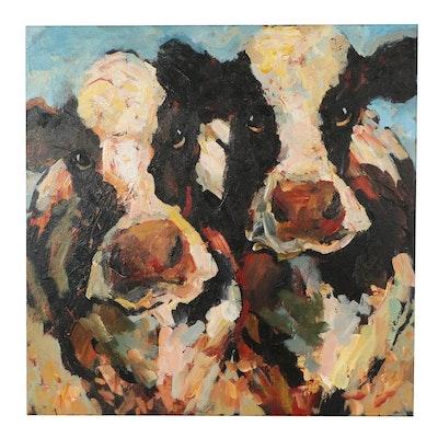 Elle Raines Oil Painting of Cow, 21st Century