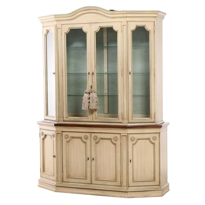 French Provincial Style Painted Illuminated China Cabinet, Late 20th Century
