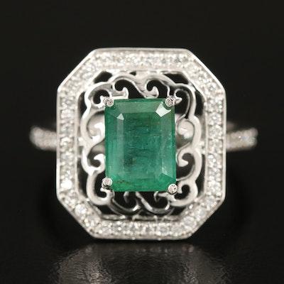 14K 2.56 CT Emerald and Diamond Openwork Ring