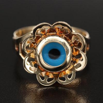 14K Glass Evil Eye Openwork Ring