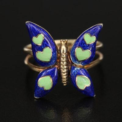 14K Enamel Butterfly with Hearts Ring
