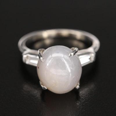 Platinum 9.70 CT Star Sapphire and Diamond Three Stone Ring