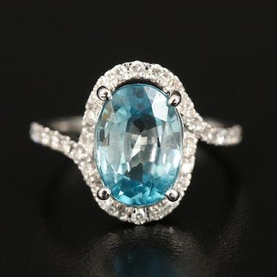 14K 5.16 CT Blue Zircon and Diamond Ring