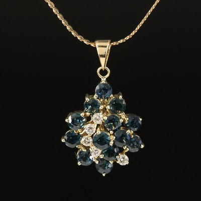 14K 3.03 CTW Sapphire and Diamond Cluster Pendant Necklace