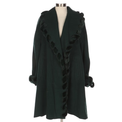 Linda Richards Dark Green Wool Coat with Mink Fur Whipstitch Detailing