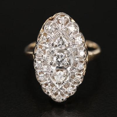 14K 0.50 CTW Diamond Navette Ring