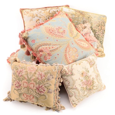 Floral Print Accent Pillows, Mid to Late 20th Century