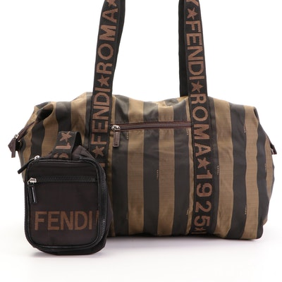 """Fendi Duffel Bag in Pequin Stripe with """"Fendi Roma 1925"""" Web and Toiletry Pouch"""
