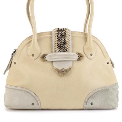 Christian Dior Bowler Bag with Embellished Belt Closure