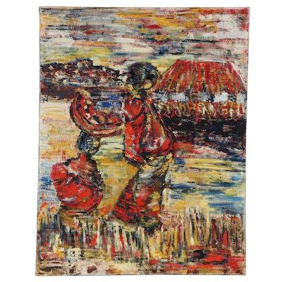 "Elsie Kay Harris Acrylic Painting ""Africa,"" 21st Century"