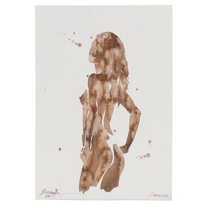 Anastasija Serdnova Watercolor Painting of Nude Figure, 2021
