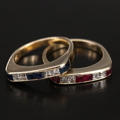 14K Diamond, Sapphire and Ruby Stacking Rings