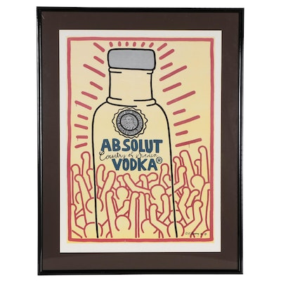 """Offset Lithograph After Keith Haring """"Absolut Vodka"""""""