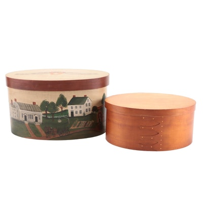 American Made Hand-Painted Lidded Boxes, 1990s