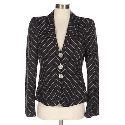 Giorgio Armani Diagonal-Stripe Cropped Blazer in Wool-Blend